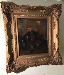 """Antique Oil Painting """" Gentleman Holding Pipe With Seated Dog"""" $295.00"""