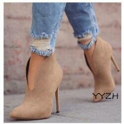 Women#x27;s Pointed toe Ankle Boots Slip On High Heels Stiletto Party Shoes Fashion $53.99