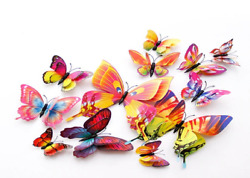 12Pcs Stickers Wall Butterfly 3D Decor Home Sticker Magnet Room Magnetic $5.99