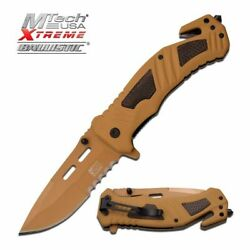 SPRING ASSIST FOLDING POCKET KNIFE Mtech Tan Serrated Blade Rescue Tactical $12.41
