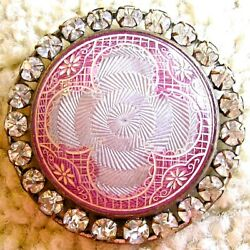 Ex Rare Jaw dropping antique glass enamel pastes button. ca. 1880s 1890s $325.00