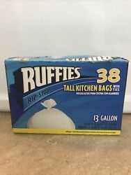 Ruffies BLTT102 38 Tall Kitchen Bags 13 Gal 38 Ct. Quantity 1 White Tie Rip Stop $35.00