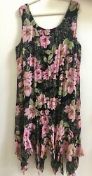 Eva Blue Plus Size 22 Black Pink Green Floral Beaded Sleeveless Midi Party Dress $20.95