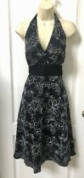 Studio 1940 Size 10 Medium Black White Floral Embroidered Halter Cocktail Dress $18.95
