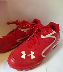 Under armour boys baseball cleat RED LOW RIM JR SIZE 4Y Pre owned . $9.60