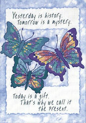 Stamped Cross Stitch Mini Kit Dimensions Today is a Gift Butterflies #16730 $9.99