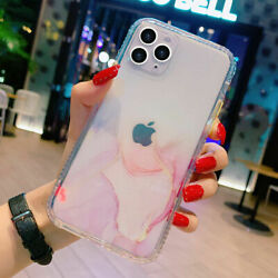 For iPhone 12 Pro Max 11 XS XR 8 7 Marble Bling Glitter Clear Bumper Case Cover $8.13