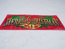 Vinyl Merry Christmas Sign Banner Commercial Holiday Sign 3#x27;x8#x27; Hanging Banner