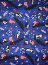 1 2 Yd Military Novelty Quilt Fabric US Marines Ships Logo Flags on Blue $6.99