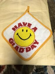 Vintage Glad Bags Advertising Hot Pad Trivet Have A Happy Day Smiley Face Retro $9.99