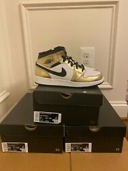 Nike Air Jordan 1 Mid Gold Metallic GS Size 5.5Y 7Y DC1420 700 $154.99