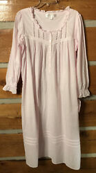 New w tag EILEEN WEST long cotton gown Med pink white $50.00