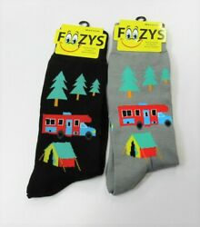 2 Pairs Foozys Men#x27;s Fun Novelty Socks Camping Campground Tent Campfire Camper $9.95