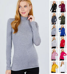Women#x27;s Turtleneck Long Sleeve Cotton Jersey Top $9.99