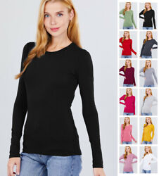 Women#x27;s Long Sleeve Crew Neck Lightweight T Shirts S 2XL $10.99