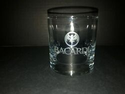 Bacardi Rum Cocktail On The Rocks Lowball Glass Etched Bat Logo Design Barware $5.00