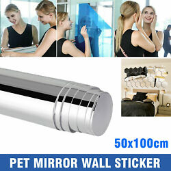 19.7x39.4 IN Self Adhesive Mirror Reflective Tiles Wall Stickers Film Paper Gift $12.98