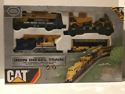 CAT Battery Operated Iron Diesel Toy Train Set with Track New In Open Box $23.00