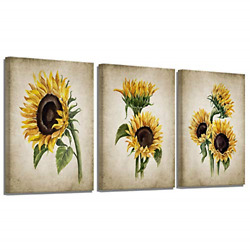 Sunflower Kitchen Decor Simple Life Rustic Wall Decor Vintage Watercolor Wall 3 $39.09