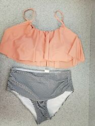 Reilive Women#x27;s Two pc Swimsuit High Waisted Stripped Bottom Coral Top Size L $10.91