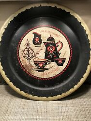 Rustic Decor Coffee Klautch 1950's Metal Platter $4.99