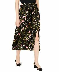 Maison Jules Womens Skirts Black Size Large L Straight Floral Print $59 061 $14.99