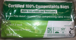 100% Certified Compostable Bags 3 Gallon Food Scraps Waste Bags 300 $45.60