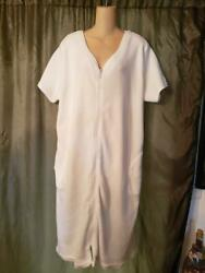 XL MOON BEAMS LONG COVER UP 50quot; BUST WHITE SOLID POLY COTTON ZIP FRONT POCKETS $22.95