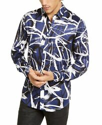 INC Mens Dress Shirt Blue Large L Abstract Scribble Satin Button Down $69 038 $17.98