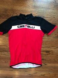 MEN#x27;S CASTELLI CYCLING BICYCLE SHIRT JERSEY MAILLOT MAGLIA RED SIZE L Italia $50.00