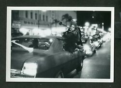 Unusual Vintage Photo Party Girls Cruising the Loop in Car at Night 446003 $14.99