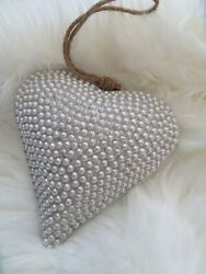 HUGE Shabby Vintage Chic Faux PEARL 3 D HEART Wall Hanging Table Farmhouse $35.00