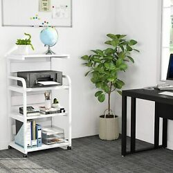 4 Shelf Mobile Printer Stand with Storage Shelves Modern Printer Cart Desk VE $86.99