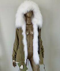 $5790 Mr amp; Mrs Italy White Fox Fur Lined Parka XS $1299.00