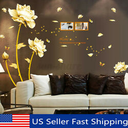 Removable PVC Gold Flower Wall Sticker Decal Mural Art Wall Living Room Decor $10.02