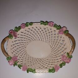 Woven Ceramic Basket w Roses amp; Twig Handle Made in Italy Vintage Italian Decor $11.50