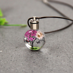 Luminous Flower Butterfly Glass Ball Women Necklace Pendant