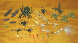 30 VINTAGE FLY FISHING FLIES SPIDERS FROGS CENTIPEDES SPINNERS FISHING LURES $6.99