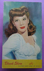 July 171945 p card #x27;#x27;Dinah Shore Victor#x27;s Sweetheart of Song#x27;#x27; from Camden NY $6.00
