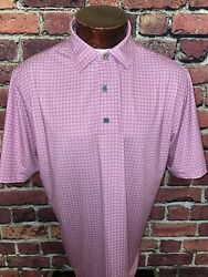 Footjoy Mens Large Pink White Checkered Short Sleeve Golf Polo Shirt $26.97