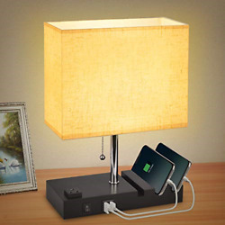 USB Bedside Table Lamp for Bedroom with 3 Phone StandsModern Table Lamp with 2 $37.34