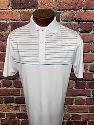 Footjoy Mens Medium Athletic Fit White Blue Striped Short Sleeve Golf Polo $22.50