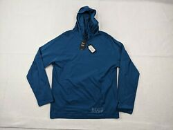 New Hugo Boss Hooded Shirt Adult Large Men Blue White Pullover Cotton Casual $28.95