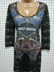 nwt HARLEY DAVIDSON Bamp;S Black Lace Dress Swimsuit Cover Up 3 4 sleeve $38.99