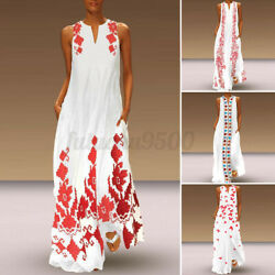US Women Sleeveless Bohemia Beach Dresses Floral Long Dress Plus Size Sundress $19.69