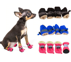 Quality Pet Dog Boots Waterproof Cotton Anti slip Reflective Puppy Snow Shoes $8.95