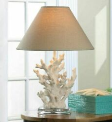 Table Desk Lamp Ivory Coral Theme Shade Home Decor Lighting Light Nautical Style $71.95