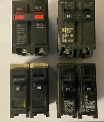 LOT OF 6 CIRCUIT BREAKERS FITS MURRAY WESTINGHOUSE BRYANT EATON 15A 20A 60DP