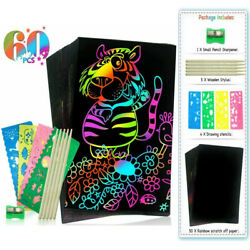 Scratch Art for Kids 50PCS Paper with 5 Wooden Styluses 4 Stencils Magic Scratch $8.50