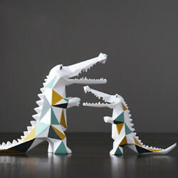 Modern Nordic Geometric Crocodile Animal Statue Table Room Decor Sculpture Craft $59.99